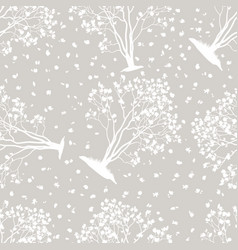 Seamless pattern magnolia trees vector