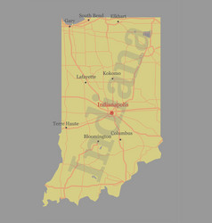 indiana accurate exact detailed state map with vector image