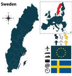 Sweden and european union map small vector