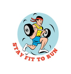 Man running jogging lifting weights vector