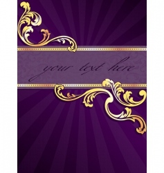 Vertical banner with gold filigree vector