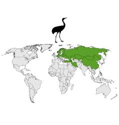 Common Crane breeding grounds vector image