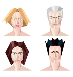 Four abstract polygon portraits vector image