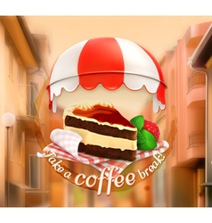 Coffee cake an invitation to a cup of coffee vector