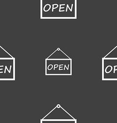 Open icon sign seamless pattern on a gray vector