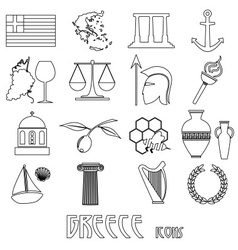 Greece country theme symbols and outline icons set vector