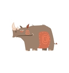 Rhino standing flat cartoon stylized vector