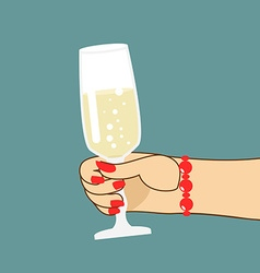 Womans hand with glass of champagne woman holds vector