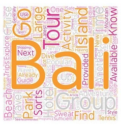 Bali what to do and where to go text background vector