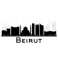 Beirut city skyline black and white silhouette vector