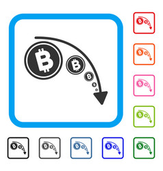 Bitcoin reduce trend framed icon vector