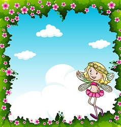 Border design with fairy and flowers vector image vector image