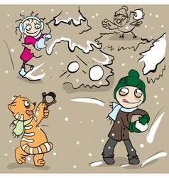 Boy and girl playing snowballs vector