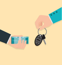 buying new car conceptual hand holding car key vector image vector image