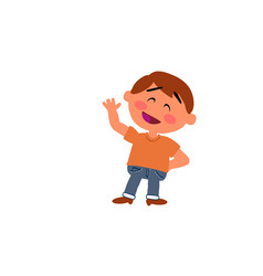 cartoon character boy greeting vector image vector image