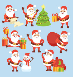 cartoon cute santa claus character set vector image vector image