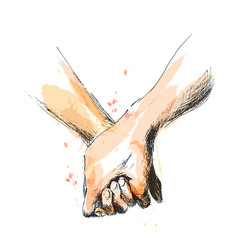 Colored hand sketch holding hands vector