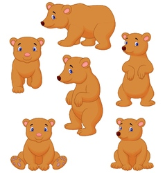 Cute brown bear cartoon collection vector image