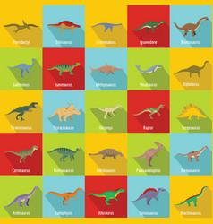 dinosaur types signed name icons set flat style vector image
