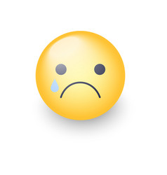 Disappointed emoji face crying cartoon vector