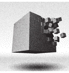 Dotwork raster cube explosion vector