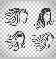 Female head silhouettes with beautiful hair vector