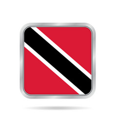 Flag of trinidad and tobago metallic square vector