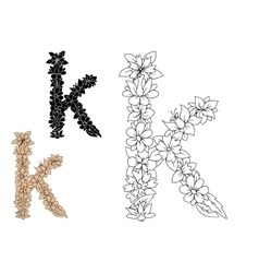 Floral letter k with flower elements vector