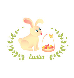 For easter greeting card rabbit sits vector
