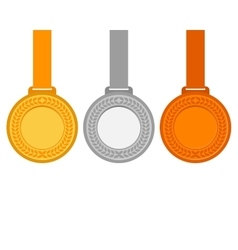 Gold silver and bronze medals for the winners of vector