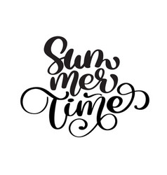 hand drawn summer time lettering logo vector image vector image