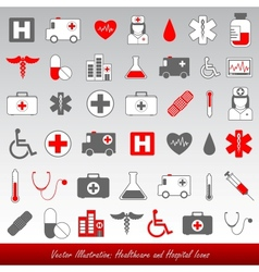 healthcare and medical icons vector image vector image