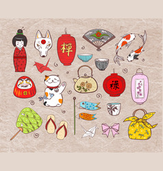 Japan colored doodle sketch elements on vintage vector