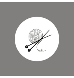 Knitting yarn skein and needles icon or logo vector image