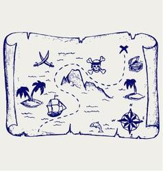 Map of treasure island vector image vector image