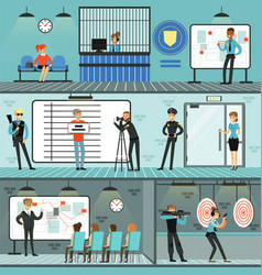 police department set policemen at work vector image
