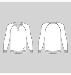 Raglan long sleeve t-shirt outlined template vector image vector image