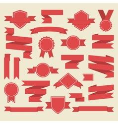 Red ribbonsmedalaward set vector image vector image