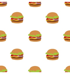Seamless pattern with flat style burger image vector