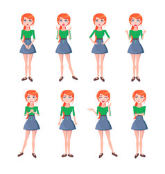 set of emotions of red-haired girl full-length vector image vector image