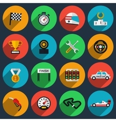 Set of racing icons in flat style vector