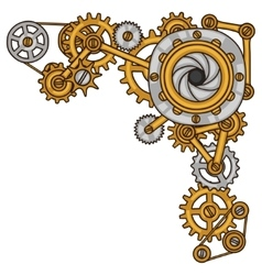 Steampunk collage of metal gears in doodle style vector