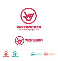 Vape rocker logo template for vaper club or vector
