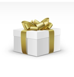 White Gift Box with Yellow Gold Ribbon Isolated vector image