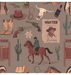Wild West colored hand drawn pattern vector image