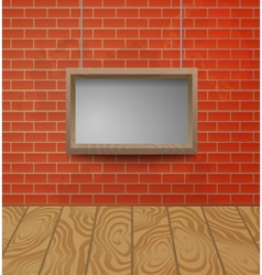 Wooden frame on the brick wall background vector image vector image