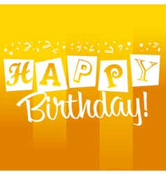 Yellow birthday greeting card vector
