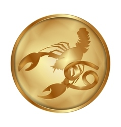 Zodiac cancer gold medallion drive vector image