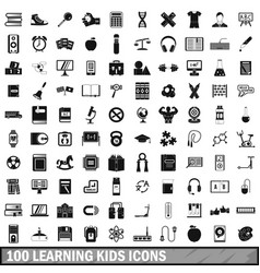 100 learning kids icons set simple style vector image