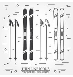 Set of skiing equipment silhouette icons vector